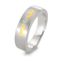Fingerring 950 Platin, 750/18 K Gelbgold Diamant 0.025 ct-517953
