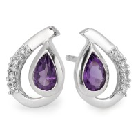 Clous d'oreilles Or blanc 750/18 ct. Améthyste 0.04 ct-555986