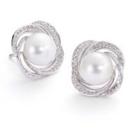 Clous d'oreilles Or blanc 750/18 ct. Diamant 0.26 ct perle d'eau douce Ø16 mm-558096