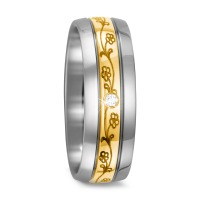 Fingerring Titan, 750/18 K Gelbgold Diamant 0.03 ct-567663