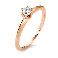 Bague solitaire Or rose 585/14 ct. Diamant 0.20 ct