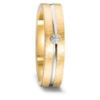 Bague d'amitié/Alliances Or jaune 750/18 ct., Or blanc 750/18 ct. Diamant 0.03 ct