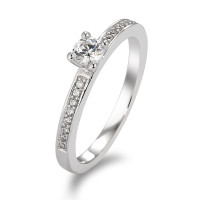 Bague solitaire Or blanc 375/9 ct. Zirconia