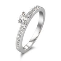 Bague solitaire Or blanc 375/9 ct. Zirconia Ø4 mm-583708