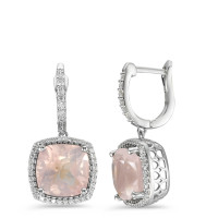 Pendant d'oreilles Or blanc 750/18 ct. Quartz rose-590538