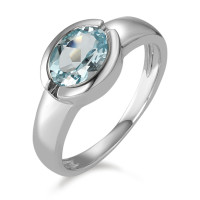 Bague Or blanc 375/9 ct. Topaze bleue-591321