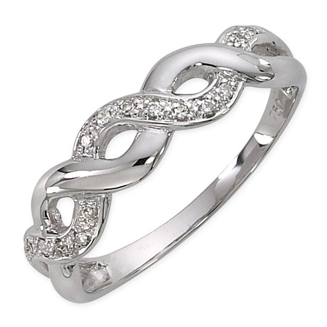 Bague en or gris avec diamants 0.063 ct.-338505