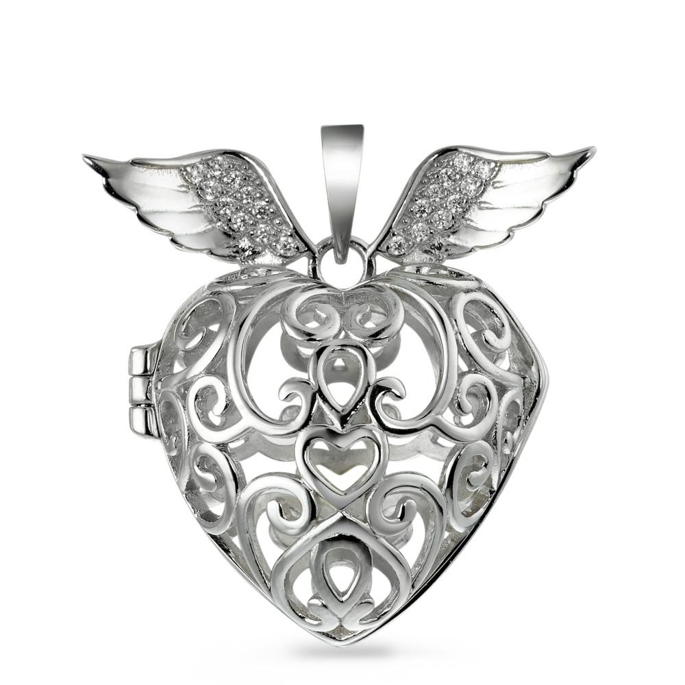 Image of Anhänger Silber Herz mit Flügel, aufklappbar