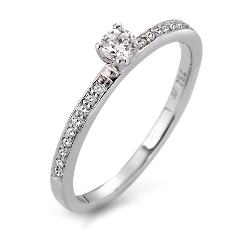 Bague solitaire Or blanc 750/18 ct. Diamant 0.20 ct Ø3 mm