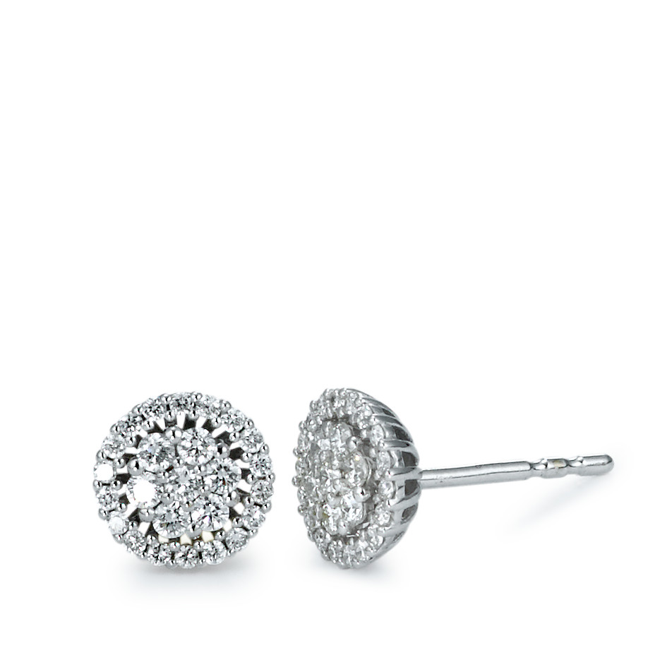 Clous d'oreilles Or blanc 750/18 ct. Diamant 0.35 ct Ø7 mm-573380