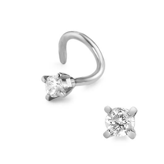 Clous de nez Or blanc 750/18 ct. Diamant 0.023 ct Ø2 mm-584245